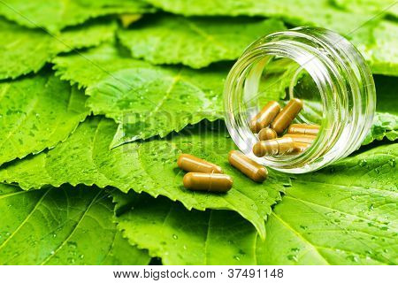 Pills In Jar Over Green Leaves. Healthy Vitamin