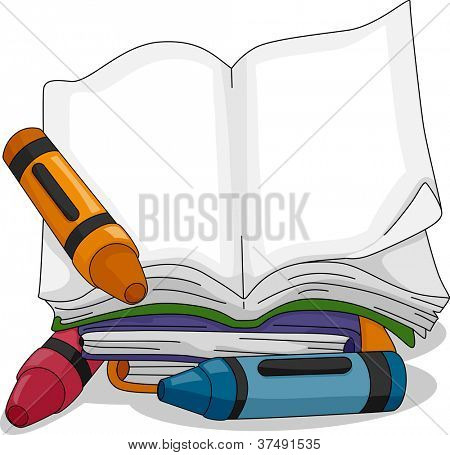 Illustration of a Crayon Sitting Beside a Blank Book