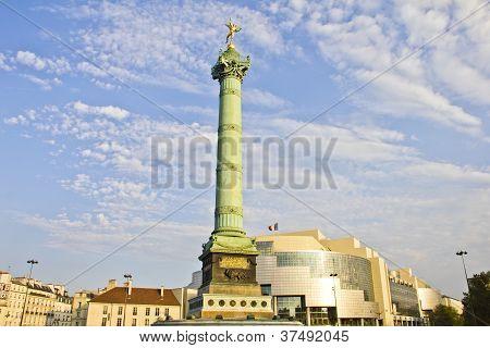 Place De La Bastille And The And Opera Bastille, Paris, France