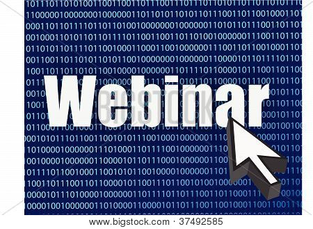 Webinar binary blue background and cursor illustration design