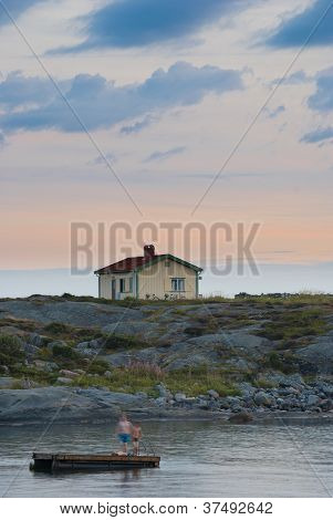 Isolated House On Swedish West Coast Taken Near Sumset