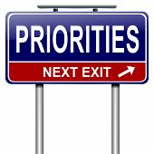 picture of eminent  - Illustration depicting a roadsign with a priorities concept - JPG