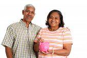 image of elderly couple  - Senior Minority Couple Set On A White Background - JPG