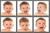 stock photo of crying boy  - Adorable ten month old baby boy - JPG