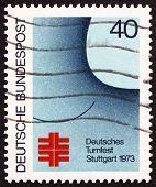 Постер, плакат: Почтовая марка Германии 1973 года немецкий Тёрнер фестиваль