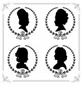 stock photo of cameos  - Female silhouettes in profile as a cameo - JPG