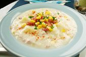 image of vegetable soup  - Freshly prepared ham corn and potato chowder with paprika ready to serve - JPG