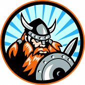 picture of raider  - Illustration of a viking warrior raider barbarian with sword and shield set inside circle done in retro style - JPG