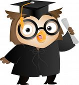 stock photo of toga  - Illustration of an Owl Wearing a Toga and Graduation Cap Holding a Diploma - JPG