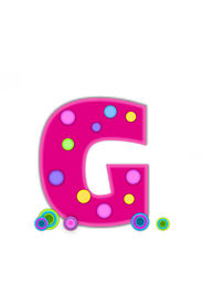 stock photo of g-spot  - The letter G in the alphabet set Dots is hot pink with lighter pink outline - JPG