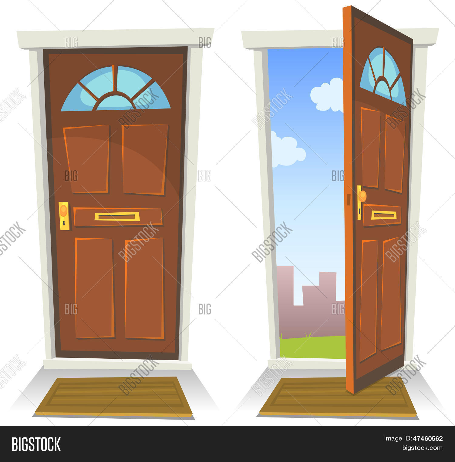 Cartoon Red Door Open And Closed Stock Vector Amp Stock