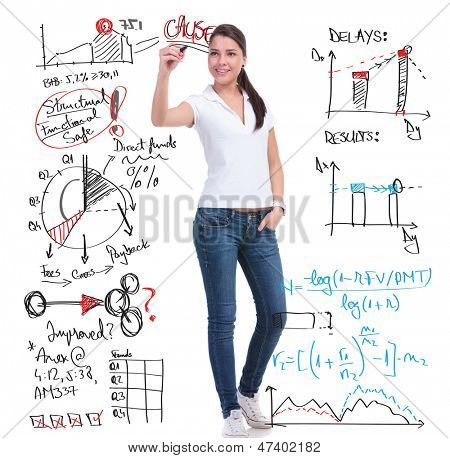 full length picture of a casual young woman writing calculations and graphs while holding her other hand in the pocket. isolated on white background