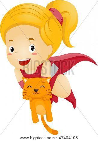 Illustration of a Little Kid Girl Superhero Rescue an Orange Cat