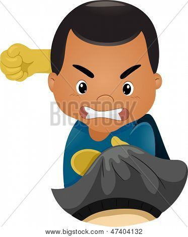 Illustratie van kleine Kid Boy superheld ponsen iemand