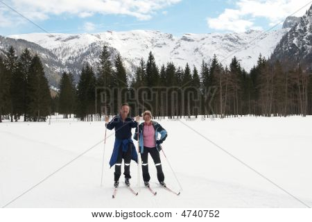 Seniors In Winter Scene