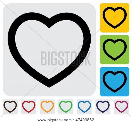 Human Heart(love) Icon(symbol) Outline- Simple Vector Graphic