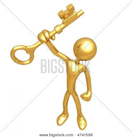 Holding In Hand A Gold Key