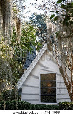 Church Window Under Spanish Moss