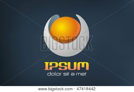 Sphere abstract vector logo template. Gold pearl concept. Sci-fi symbol icon.