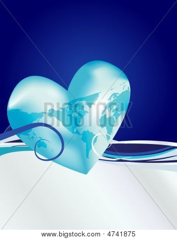 Earth Heart In Blue & Silver