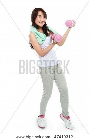 Woman Exercising With Free-weights