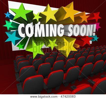 Постер, плакат: Кино театр красные стулья и экран с словами скоро 3d буквами окруженный co, холст на подрамнике