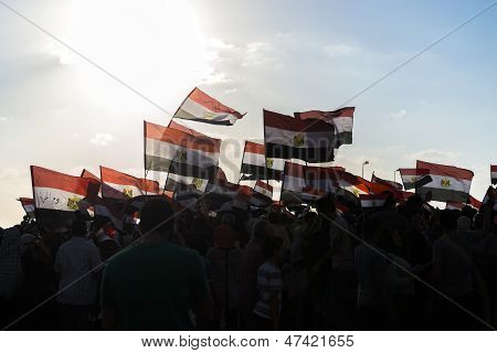 People With Egyptian Flags