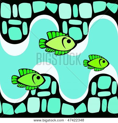 Seamless pattern with smalts and fishes