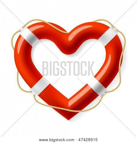 Life buoy in the shape of heart. Vector.