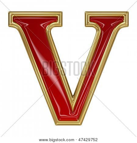 Ruby red with golden outline alphabet letter symbol - V