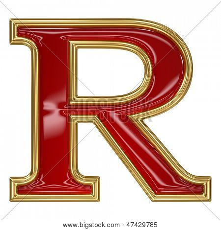 Ruby red with golden outline alphabet letter symbol - R
