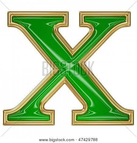 Emerald green with golden outline alphabet letter symbol -