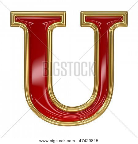 Ruby red with golden outline alphabet letter symbol - U
