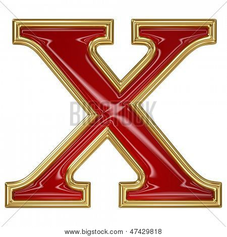 Ruby red with golden outline alphabet letter symbol - X