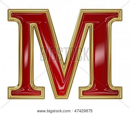 Ruby red with golden outline alphabet letter symbol - M