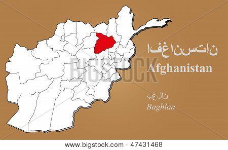 Afghanistan Baghlan Highlighted