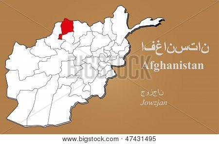 Afghanistan Jowzjan Highlighted