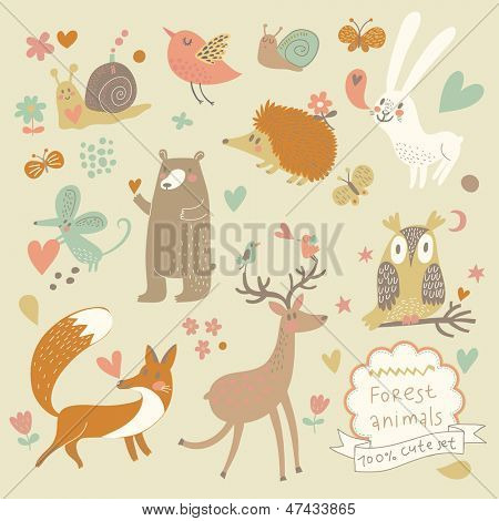 Vector set of cute wild animals in the forest: fox, bear, hedgehog, rabbit, snail, deer, owl, bird, mouse. Vintage set.