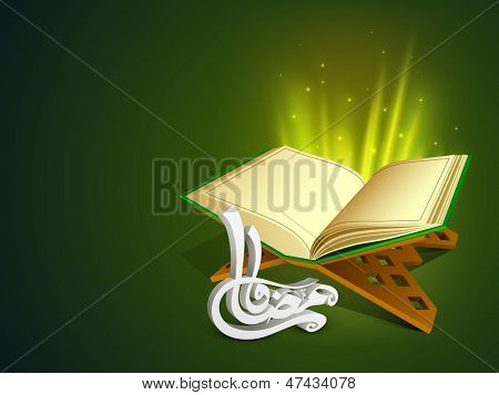 Open Islamic religious holy book Quran Shareef with Arabic Islamic calligraphy of text Ramadan Kareem on shiny green background.