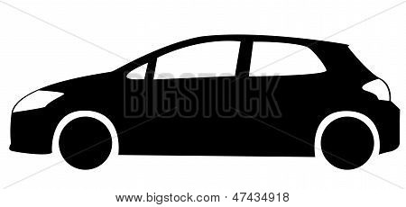 Silhouette of hatchback car