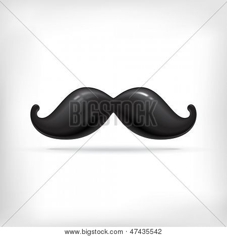 Funny vintage cartoon mustache. Bubble styled black mustache.
