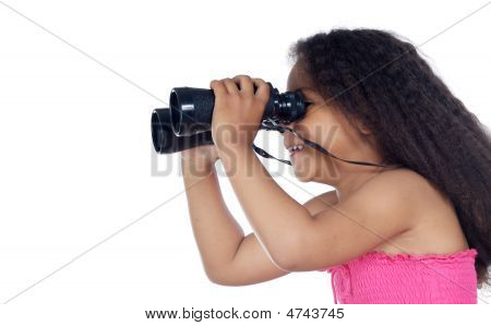 Girl Looking Throuth The Binoculars