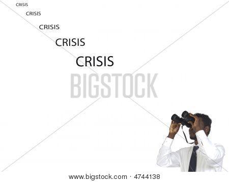 Man With Binoculars Looking The Crisis