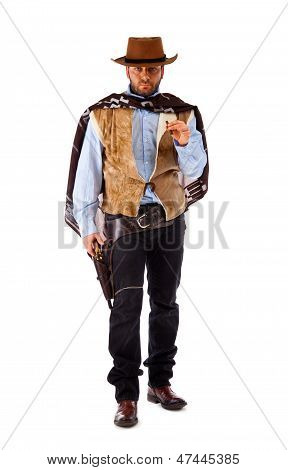 Gunman In The Old Wild West On White Background