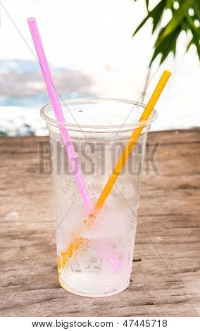 Plastic Cup On Park Table
