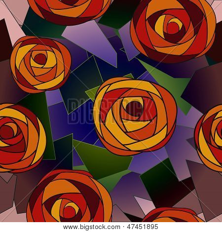 Red Mosaic Roses On Colored Geometric Polygons Seamless Pattern