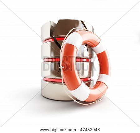 Database Is Damaged, Life Buoy 3D Illustrations On A White Background