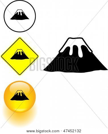inactive volcano symbol sign and button