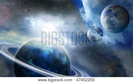 Planet In Outer Space Covered By Fog