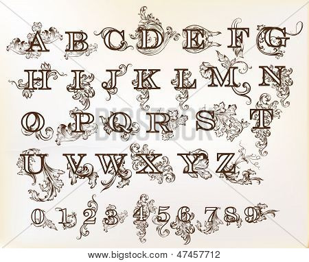 Collection Of Vector English Abc In Vintage Style With Swirls